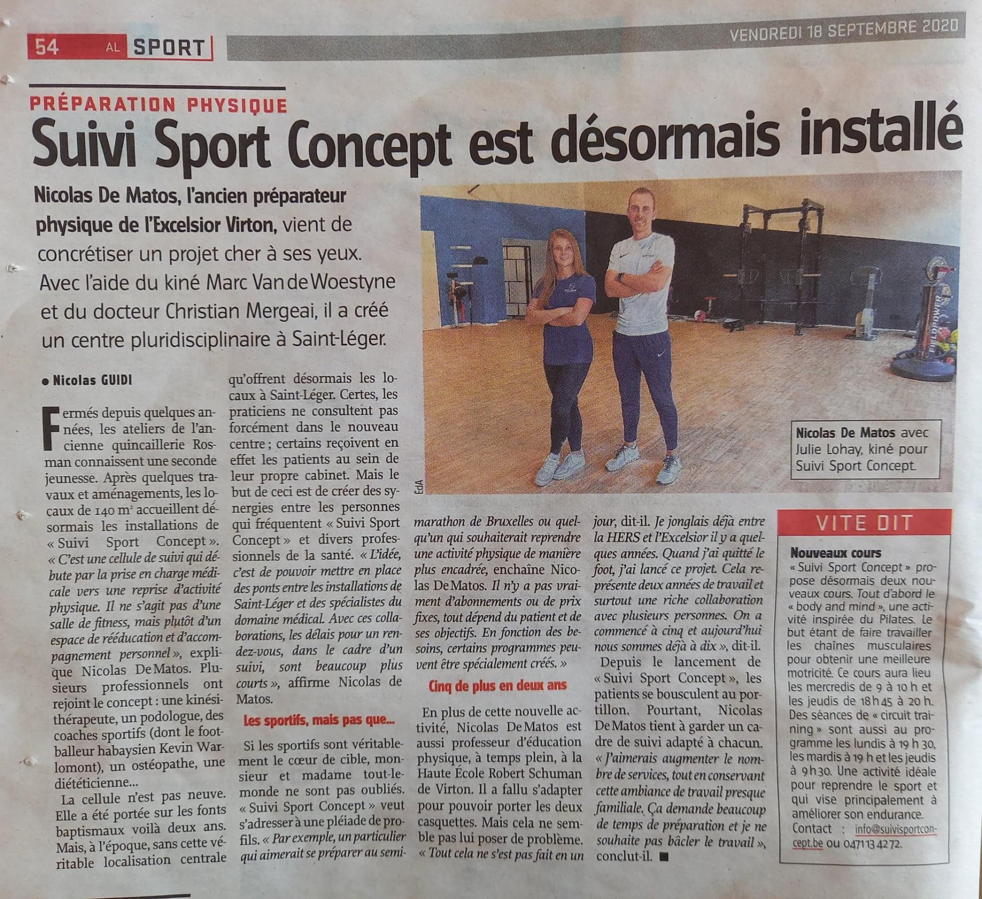 Adl article de presse sur sport concept